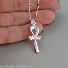 Egyptian Ankh Pendant Necklace - 925 Sterling Silver - Ankh Charm Jewelry NEW