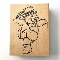 Azadi Earles DANCING SNOWMAN Rubber Stamp Winter Holiday Frosty Hat Scarf Wood *