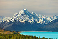 Fototapete-MOUNT COOK-(319P)-350x260cm-7Bahnen 50x260cm-Neuseeland Berg See XXL
