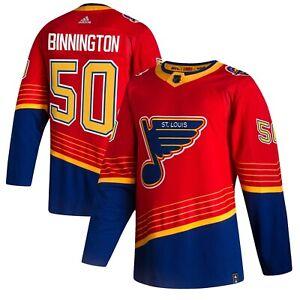 Jordan Binnington #50 St Louis Blues Red 2021 Reverse Retro Jersey Stitched