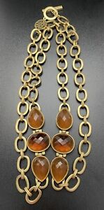 Vtg Anne Klein Necklace Faceted Bead Long Gold Tone Chain Link Signed Jewelry