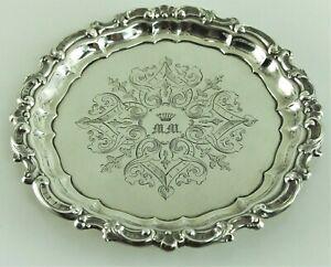 Antikes Biedermeier Silber Tablett 13 Lot  Freiherr Adel Krone 136/3