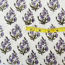 10 Yards Hand Block Print 100% Cotton Fabric Indian Sanganeri Printed Fabric A1