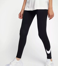 NIKE Women's Club Logo Leggings Training Pants NEW 815997-010 Black/Gray XS S M