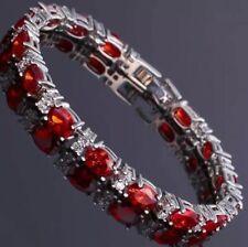 Ruby and White Topaz 7 Inch Gemstone Bracelet 14KT White Gold 5X7MM