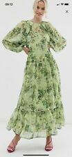 ASOS Edition Oversized Maxi Dress In Floral Grid Print Size 8