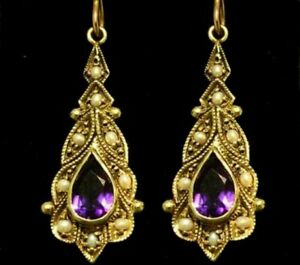 E118 VINTAGE style GENUINE 9ct SOLID Gold Natural Amethyst & Pearl Drop Earrings