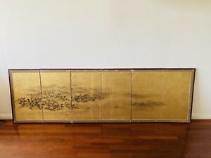 Antique Japanese 6 Panel Gold Lacquer Paper Screen