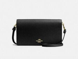 Coach Hayden Black Pebbled Leather Foldover Crossbody Bag 87401