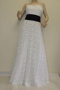 Neuf Marchesa Notte Blanc Fleur 3 D Applique Noir Écharpe sans Bretelle Robe 8