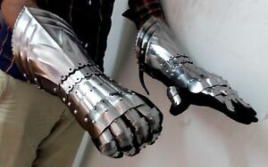 X-Mas Medieval Warrior Metal Gothic Knight Style Gauntlets Functional Armor