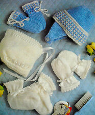KNITTING PATTERN DK /QK/4PLY 4-12month BABY BOY & GIRL HAT MITTS & BOOTEE SETS