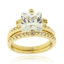 18K Gold over 925 Silver Square CZ Engagement Stackable Ring Set Size 7