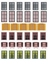 O Scale Windows Model Train Scenery Sheets –6 8.5x11 Coverstock Sheets Assorted