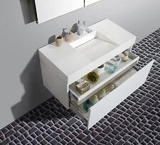 Mineralguss Waschbecken mit Ablaufschlitz 1000x480x100 mm Waschtisch Wandmontage