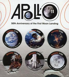 Guyana Space Stamps 2018 MNH Apollo 11 Moon Landing 50th Anniv 6v M/S