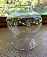 "Vintage Glass Hurricane Lamp Shade Chimney Clear Etched 5.25"" tall 2.25"" Fitter"