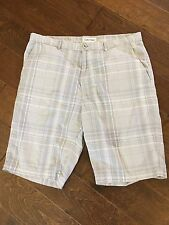 Calvin Klein Plaid Flat Front Shorts - Men's 36 With 12 Inch Legs