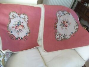TWO VINTAGE TAPESTRY NEEDLEPOINT HAND WORKED CUSHION/SEAT COVERS