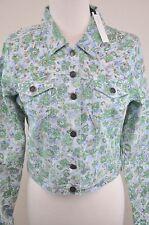 BUFFALO David Bitton Floral Denim Jacket Gold Studs Nicolette Jr Sz Lg MSRP $138