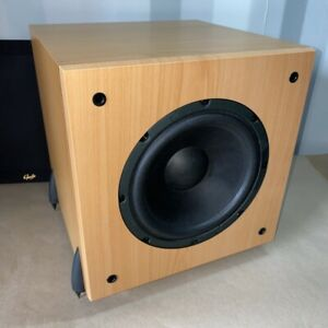 GALE 3070 Active Subwoofer SERIES 30 in Beech Tested Working inc Spikes