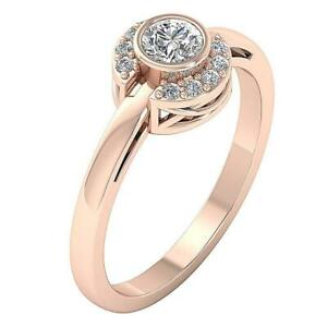 Solitaire Engagement Ring SI1 G 0.50 Ct Natural Round Diamond 14K Solid Gold