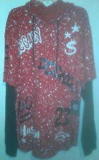 Switch Remarkable long sleeve red white black graffiti top size 4XL men's hooded