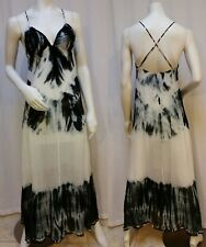 GUESS Black and White Abstract Tie Dye Silk Maxi Dress - Size XS
