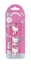 "3 Erasers Eraser of Hello Kitty ""Tea Party"" for school and Paint Cool Top"