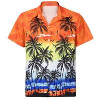 Mens Hawaiian Shirt Turn-down Neck Front-Pocket Beach Floral Blouse Tops Tee NEW
