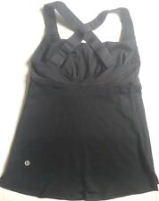 LULULEMON Track and Train Athletic Tank Top Solid Black size 4 EUC Yoga Gym Spin