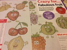 10 friendly fruit face designs inc grapes melon cross stitch chart only / 931