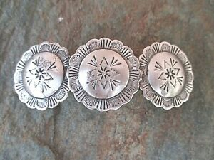 Concho Silver Plated with French Clip Hair Barrette 80MM Clip Made in USA 6005S