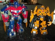 """BUMBLE BEE & OPTIMUS PRIME 11""""LOT OF 2 TRANSFORMERS BATTERY OPERATED 2009 HASBRO"""