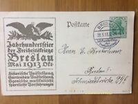 EBS Germany 1913 Postal Card Breslau Jahrhundertfeier Freiheitskriege P94II/01 U