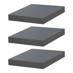 Floating Shelf Shelves Wooden Wood Wall Storage 25cm x 25cm - Grey - Set of 3