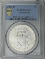 2009-P $1 Louise Braille 200th Birth Anniversary Silver Dollar PCGS MS69