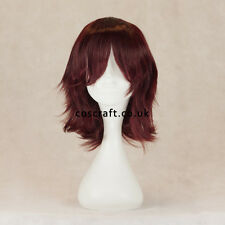 Medium flick cosplay costume wig in dark auburn red, UK SELLER, Ash style