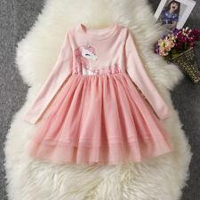 Kids Girls Unicorn Party Tutu Dress Long Sleeve Princess Birthday Dress ZG8