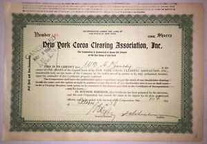 New York Cocoa Clearing Association 1930 stock certificate - Clearing house