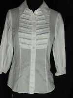 Diane Von Furstenberg White Blouse Shirt Top 4 Ruffles Pleated Sleeves