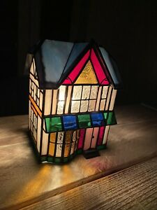 Vtg 17cm Stained Glass Inn Pub Electric Lamp Stained Glass Collectables