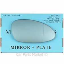 Right side Blue Wide Angle Wing door mirror glass for Porsche 968 92-95 + plate