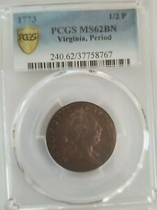 Virginia Half Penny 1773 PCGS MS62 BN with Period
