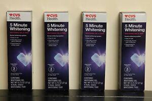 Lot of 4 NEW Sealed CVS 5 Minute Dental Teeth Whitening Kit Gel & Tray Treatment