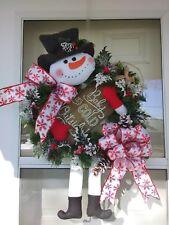 Christmas Snowman Winter Holiday Holly FrontDoor Wreath