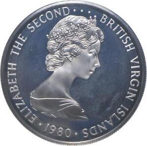 SILVER WORLD Coin 1980 British Virgin Islands 5 Dollars - World Silver Coin *253