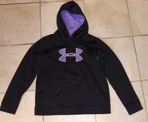Under Armour Hoodie Women's Small Black With Purple Logo Kangaroo Pockets