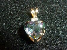 10K SOLID YELLOW GOLD MYSTIC TOPAZ HEART PENDANT AND CLEAR STONE ACCENT