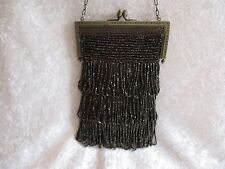 Antique Black Micro Seed Bead Fringe w/Silver Filigree Frame Purse